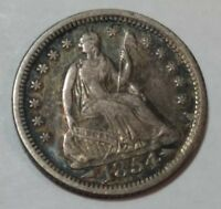 1854 WITH ARROWS SEATED LIBERTY US SILVER HALF DIME. EXTRA FINE  LOT1