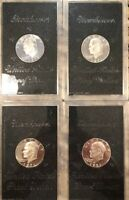 LOT OF FOUR 1971-S BROWN IKES. 4 SILVER PROOF EISENHOWER DOLLARS DATED 1971S