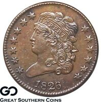 1826 HALF CENT, CLASSIC HEAD,  SHARP EARLY COPPER  SHIPS FREE