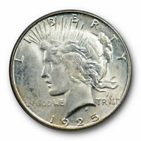 1925 S $1 PEACE DOLLAR PCGS MINT STATE 64 UNCIRCULATED OLD GREEN LABEL HOLDER OGH HUG