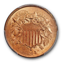 1864 2C LARGE MOTTO TWO CENT PIECE PCGS MINT STATE 64 RD RED UNCIRCULATED LUSTROUS BE