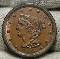 1857 BRAIDED HAIR HALF CENT -  ONLY 35,180 MINTED .  COIN 8423