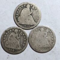 LOT OF 3 SEATED LIBERTY SILVER DIMES, AG/POOR. 1838, 1845 & 1853 WITH ARROWS