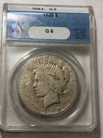 1928 KEY DATE PEACE SILVER DOLLAR. ANACS GOOD 6.