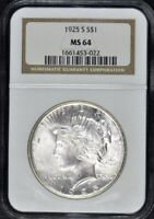 1925 S PEACE DOLLAR S$1 NGC MINT STATE 64