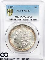 1903 PCGS MORGAN SILVER DOLLAR COIN MINT STATE 67  ATTRACTIVE PERIPHERAL TONING, PQ