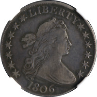 1806 BUST HALF DOLLAR POINTED 6 NO STEMS NGC VF25 0-109 R.1 GREAT EYE APPEAL