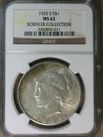$1 1925-S PEACE SILVER DOLLAR NGC MINT STATE 62 KOEHLER COLLECTION  AVENUECOIN