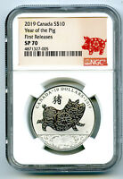2019 $10 CANADA SILVER 10 DOLLAR YEAR OF THE PIG NGC SP70 FI