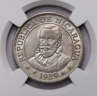 NGC MS62 1929  NICARAGUA 50CENTAVOS SILVER LUSTER LOW MINTAGE UNC