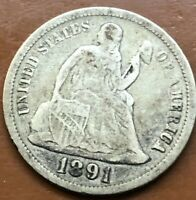 1891-P SEATED LIBERTY DIME SILVER VF  FINE  ORIGINAL US COIN - TCC