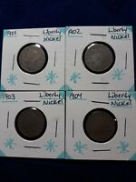 LOT OF 4 LIBERTY NICKELS 1901,1902,1903,1904