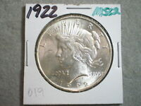 1922 PEACE SILVER DOLLAR  ---UNCERTIFIED-----BLAST WHITE-----SHIPS FREE ALSO