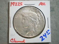 1922-S PEACE SILVER DOLLAR/ CLEANING      -\UNCERTIFIED//-