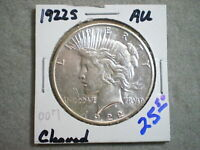1922-S PEACE SILVER DOLLAR/ CLEANED BUT  UNCERTIFIED