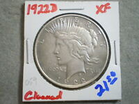 1922-D PEACE SILVER DOLLAR/ CLEANING      -\UNCERTIFIED//-