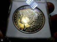 1881-S MORGAN DOLLAR  MINT STATE 63  MAGNIFICENT MULTI-COLORS TONING OBV-REV VAM 13&19