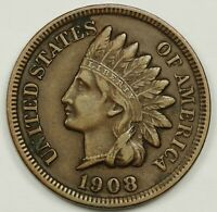 1908-S INDIAN HEAD CENT.  ABOUT X.F.  138333