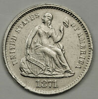1871-S LIBERTY SEATED HALF DIME.  A.U.  138342