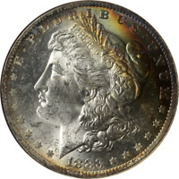 1883-O MORGAN SILVER DOLLAR RAINBOW TONING ANACS MINT STATE 63 SUPERB EYE APPEAL