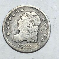 1832 CAPPED BUST US SILVER HALF DIME. GOOD, MARKS.   LOT1UR