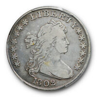 1802 $1 DRAPED BUST DOLLAR PCGS F 12 FINE ORIGINAL TONED EARLY SILVER AMERICA