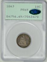 1863 10C  PCGS  PR65  CAC    RATTLER    PROOF SEATED LIBERTY DIME   7063470