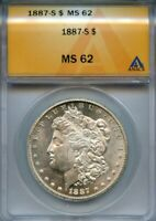 1887 S $1 ANACS MINT STATE 62 MINT STATE BU UNCIRCULATED MORGAN SILVER DOLLAR