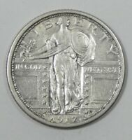1917-D TYPE-1 STANDING LIBERTY QUARTER EXTRA FINE SILVER 25-CENTS