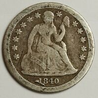 1840 SEATED LIBERTY DIME.  WITH DRAPERY.  ABOUT FINE.  138974