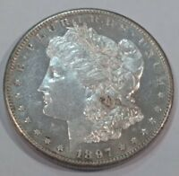 1897-S BU DEEP MIRROR PROOF-LIKE MORGAN SILVER DOLLAR.  MIRRORS