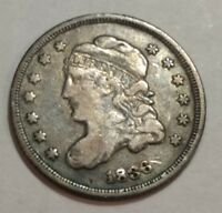 1836 FINE CAPPED BUST SILVER US HALF DIME. LOT1