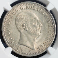 1839 KINGDOM OF HANNOVER ERNEST AUGUST I.  SILVER THALER COIN. NGC MS61