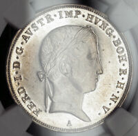 1846 AUSTRIA FERDINAND I.  PROOF LIKE SILVER  THALER COIN. NGC MS 62 PL