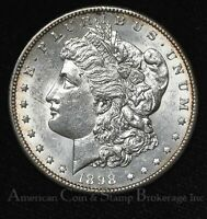 $1 ONE DOLLAR 1898 S UNC BU VAM10 R4 MORGAN DOLLAR - FLASHY WHITE - KEY DATE