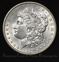 $1 ONE DOLLAR 1898 S AU UNC VAM10 R4 MORGAN DOLLAR - FLASHY WHITE - KEY DATE