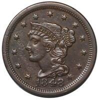 1848 LARGE CENT BRAIDED HAIR CHOICE XF   EARLY COPPER