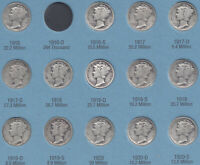 MERCURY DIME COLLECTION 77 DIFFERENT SILVER DIMES  1916 TO 1