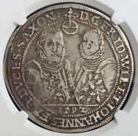 1592 SAXE OLD WEIMAR FREDERICK WILLIAM & JOHN III. SILVER THALER. NGC VF 25