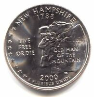 BU NEW HAMPSHIRE PLATINUM PLATED STATE QUARTER 2000 D COIN D