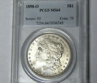 PCGS MINT STATE 64 1898-O MORGAN SILVER DOLLAR NEW ORLEANS MINT