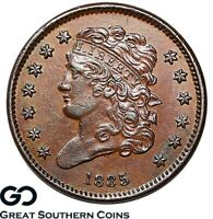 1835 HALF CENT CLASSIC HEAD CHOICE AU   EARLY COPPER