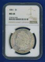 1881 P NGC MINT STATE 64 MORGAN SILVER DOLLAR $1 BETTER DATE 1881-P NGC MINT STATE 64