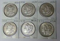 LOT OF 6 EXTRA FINE /AU MORGAN DOLLARS 1878 1879 1884 1886 1891 1900 PHILADELPHIA MINT