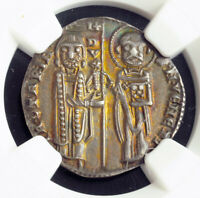 1280 DOGES OF VENICE JACOPO CONTARINI. MEDIEVAL SILVER GROSSO COIN. NGC AU58