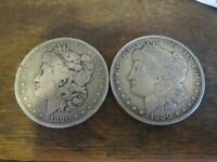 1880-O AND 1900-S MORGAN SILVER DOLLARS LOT OF 2 WITH SHIPS FREE