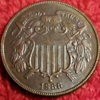 1866 BN TWO CENT PEICE IN AU CONDITION PURCHASED FROM AN EST