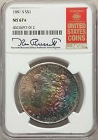 1881-S US MORGAN SILVER DOLLAR $1 - NGC MINT STATE 67