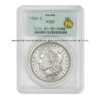 1894-S $1 SILVER MORGAN DOLLAR PCGS MINT STATE 65 PQ APPROVED OGH GEM GRADED WHITE COIN