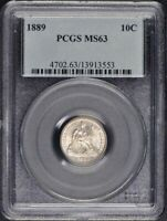 1889 10C SEATED LIBERTY DIME PCGS MINT STATE 63